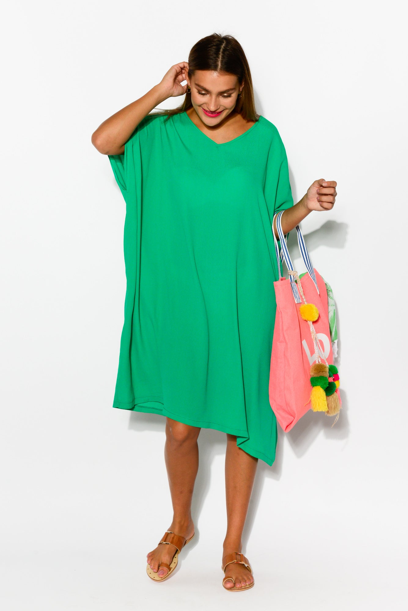 Tallie Green Drape Dress - Blue Bungalow