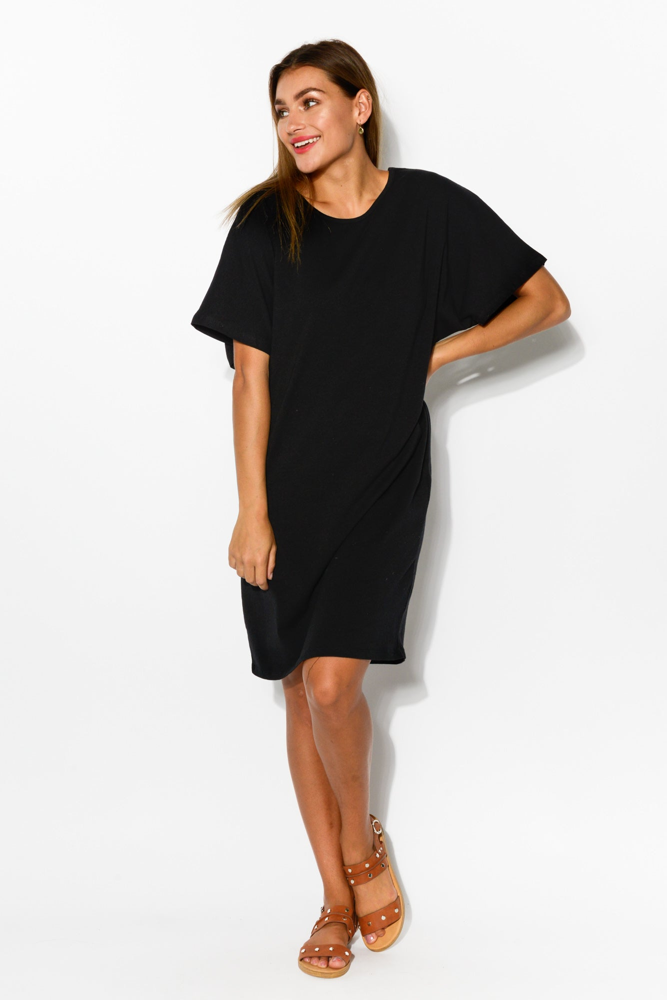 Dorothy Black Drape Tee Dress - Blue Bungalow