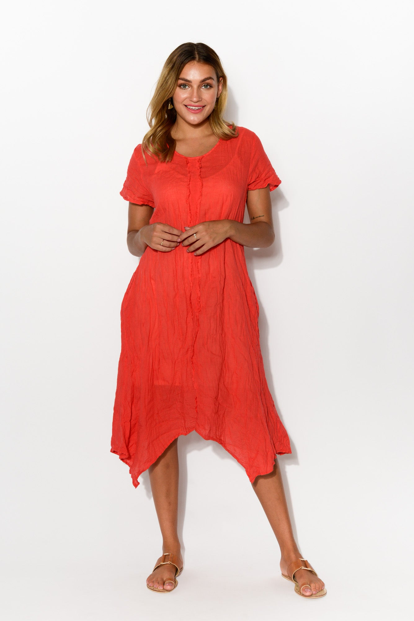 Claire Red Crinkle Cotton Dress
