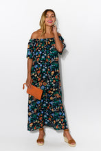 Jaymie Navy Garden Off Shoulder Maxi Dress - Blue Bungalow