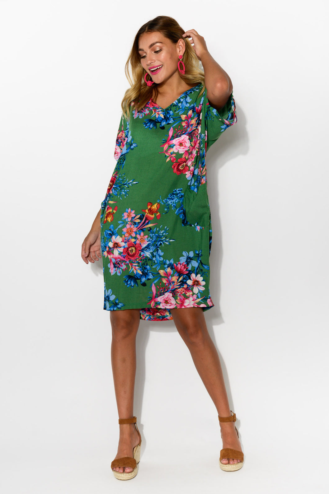 Iris Green Floral Drape Tee Dress - Blue Bungalow