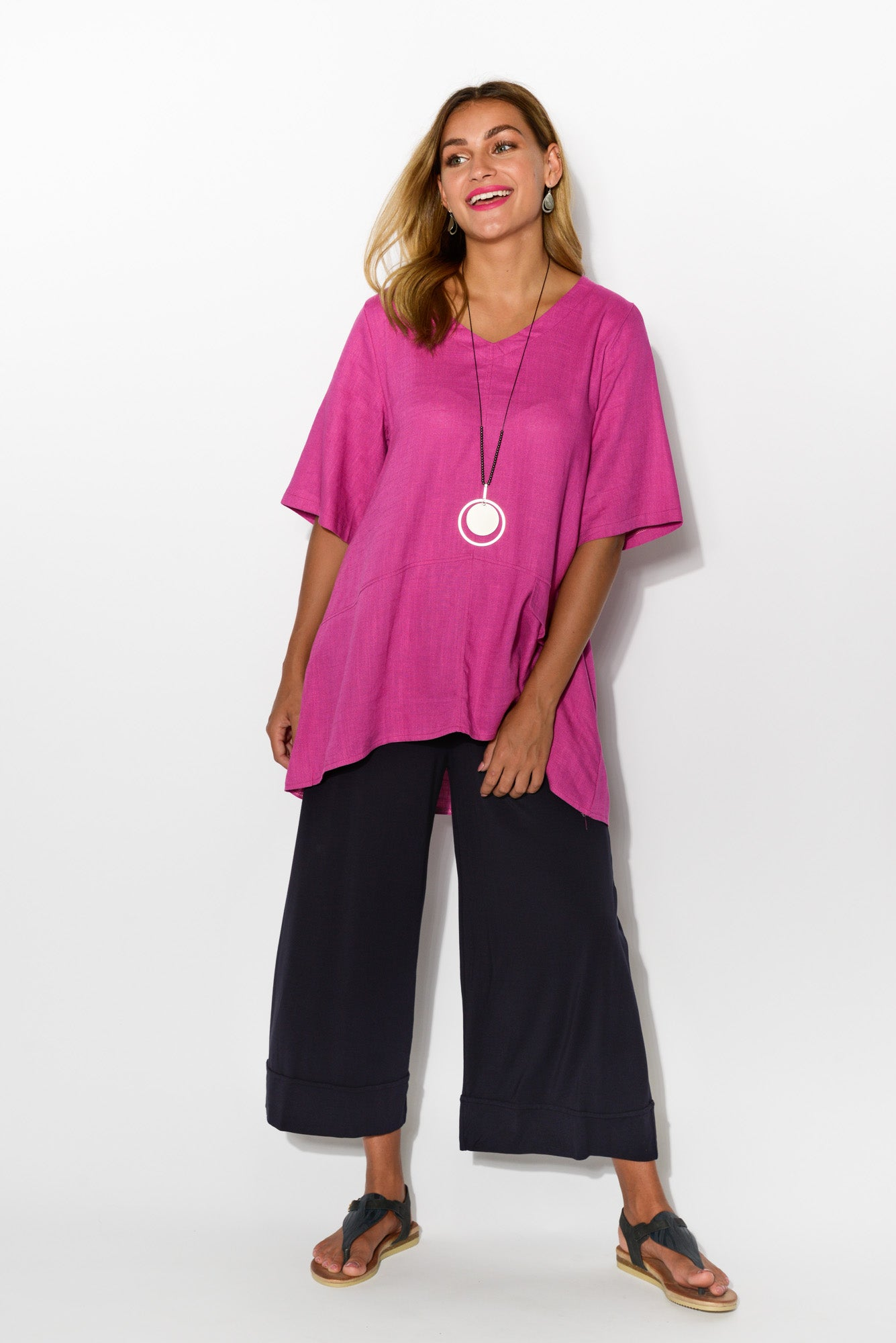 Neptune Purple Linen Cotton Top - Blue Bungalow