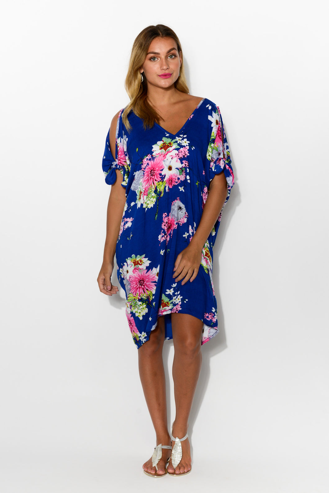 Chloe Navy Sakura Cold Shoulder Kaftan