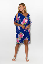 Chloe Navy Sakura Cold Shoulder Kaftan - Blue Bungalow