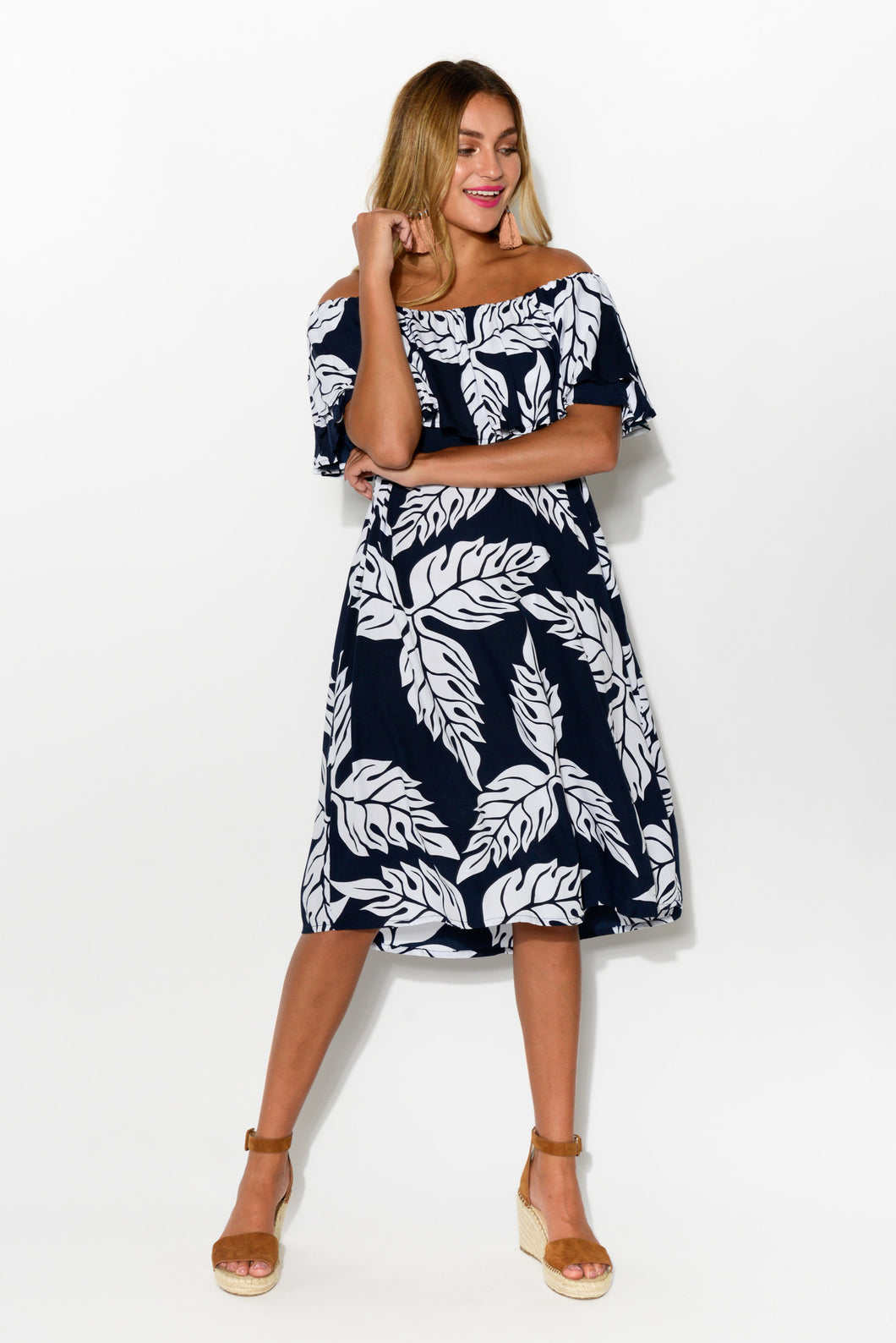 Bianca Navy Leaf Dress - Blue Bungalow