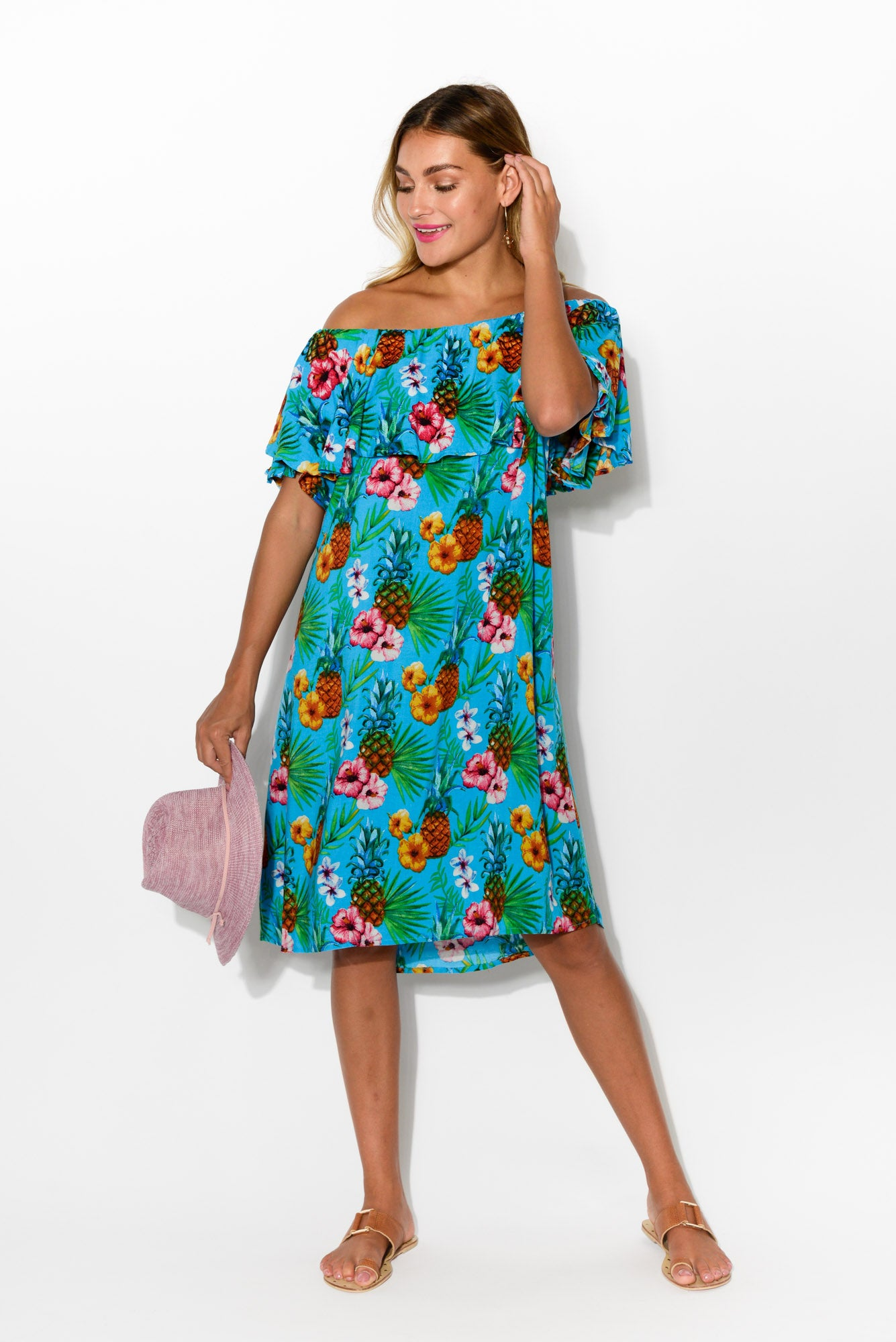 Bianca Blue Pineapple Dress