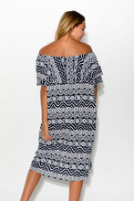 Bianca Navy Abstract Dress - Blue Bungalow