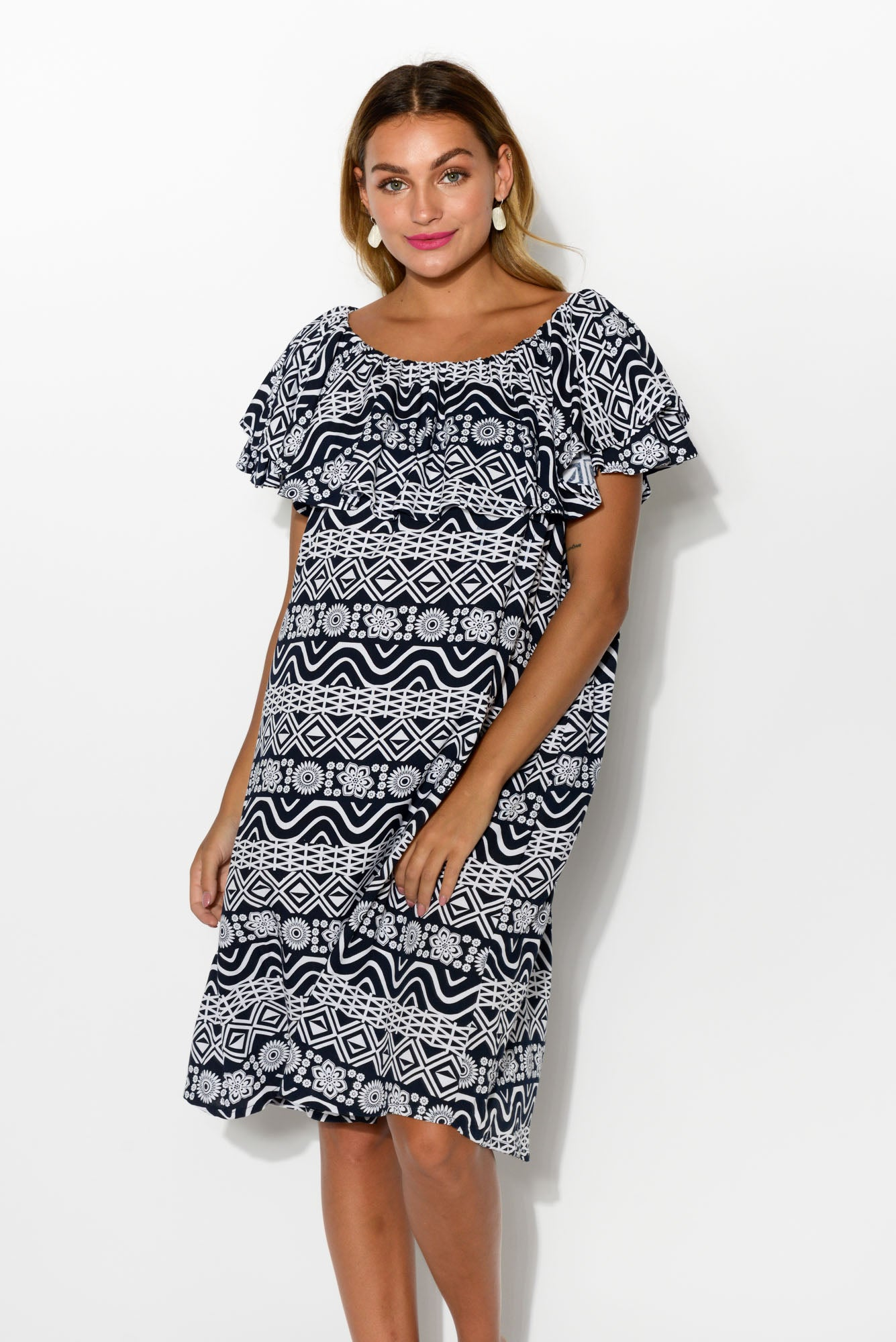 Bianca Navy Abstract Dress