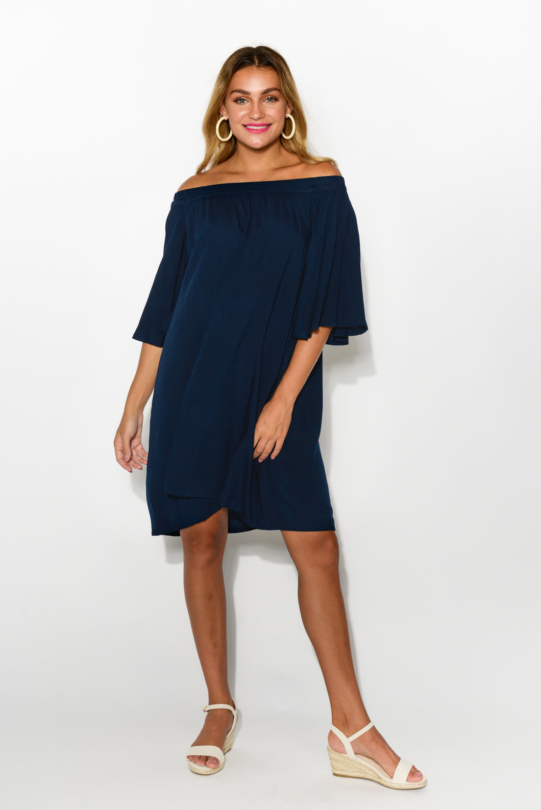 Sara Navy Off Shoulder Dress - Blue Bungalow