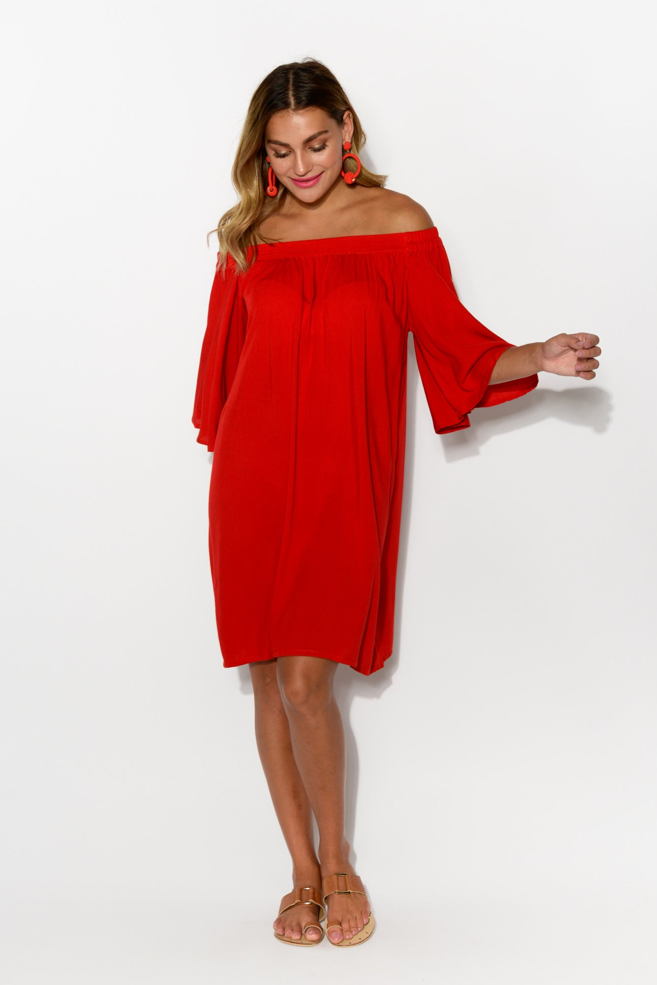 Sara Red Off Shoulder Dress