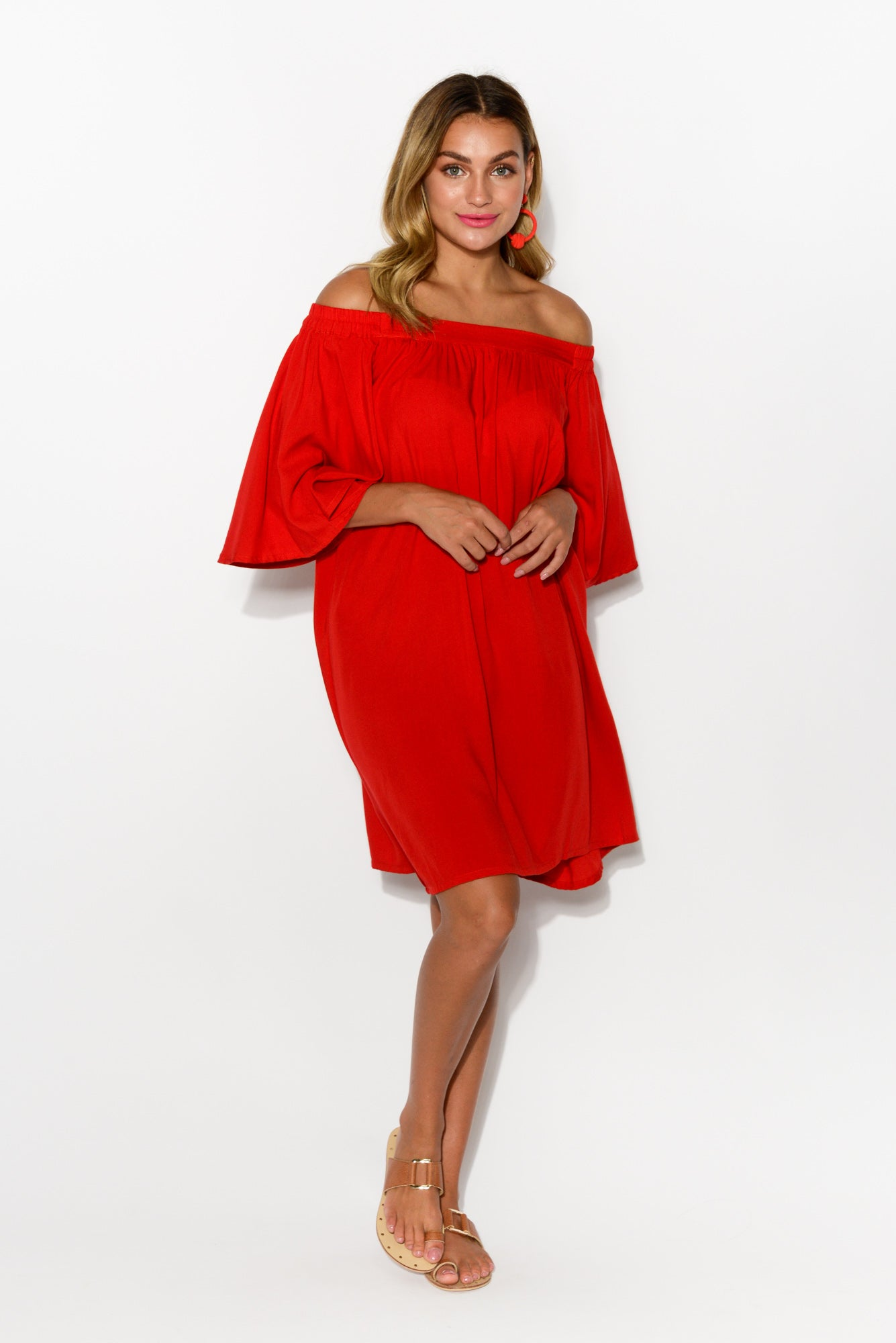 Sara Red Off Shoulder Dress - Blue Bungalow