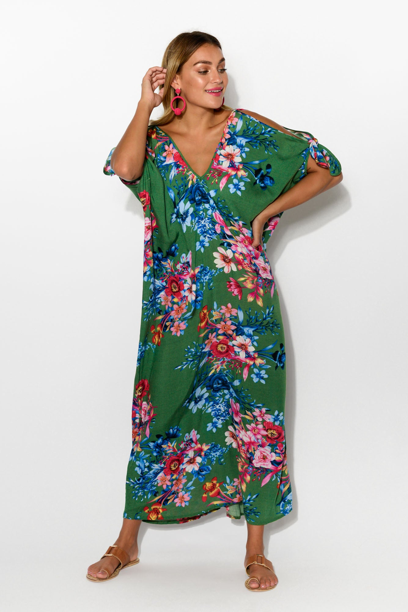 Green Floral Cold Shoulder Kaftan