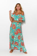 Frangipani Teal Floral Maxi Dress