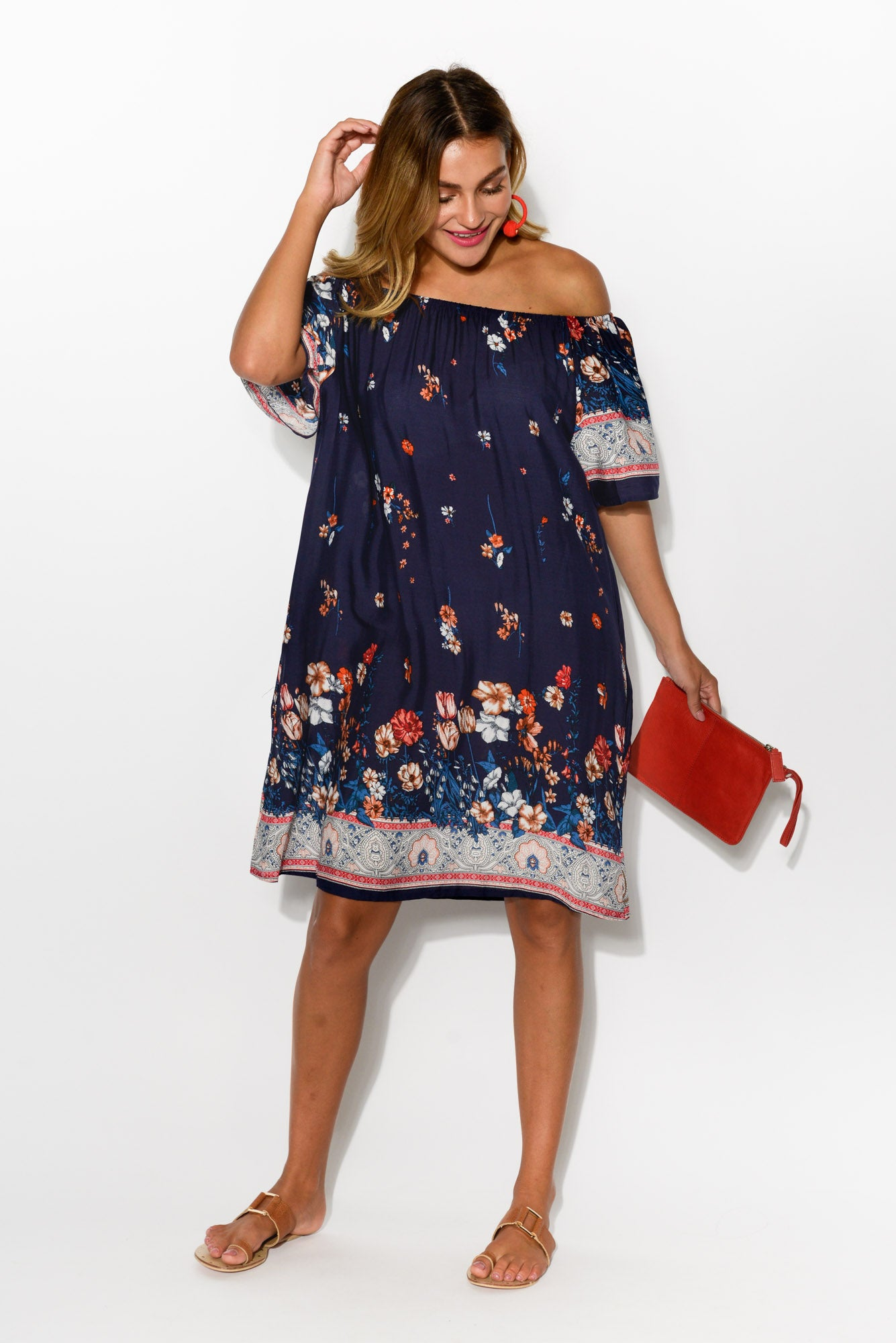 Lauren Navy Floral Off Shoulder Dress - Blue Bungalow