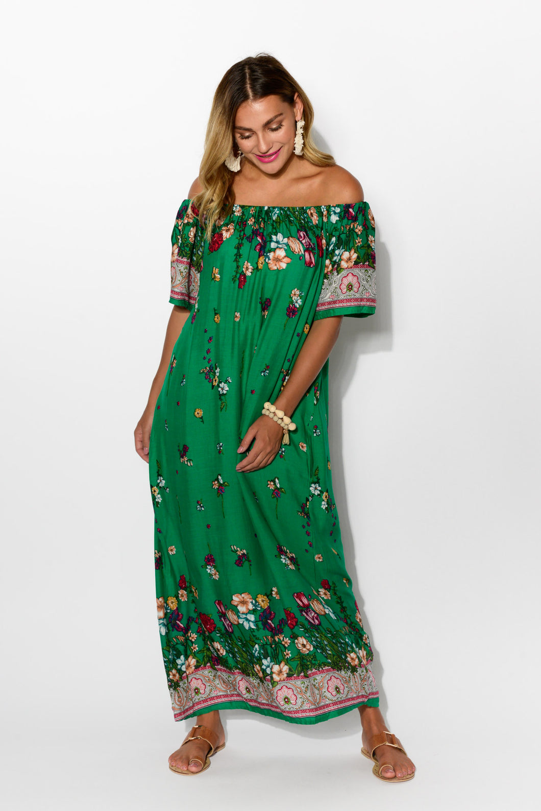 Jaymie Moss Floral Off Shoulder Dress