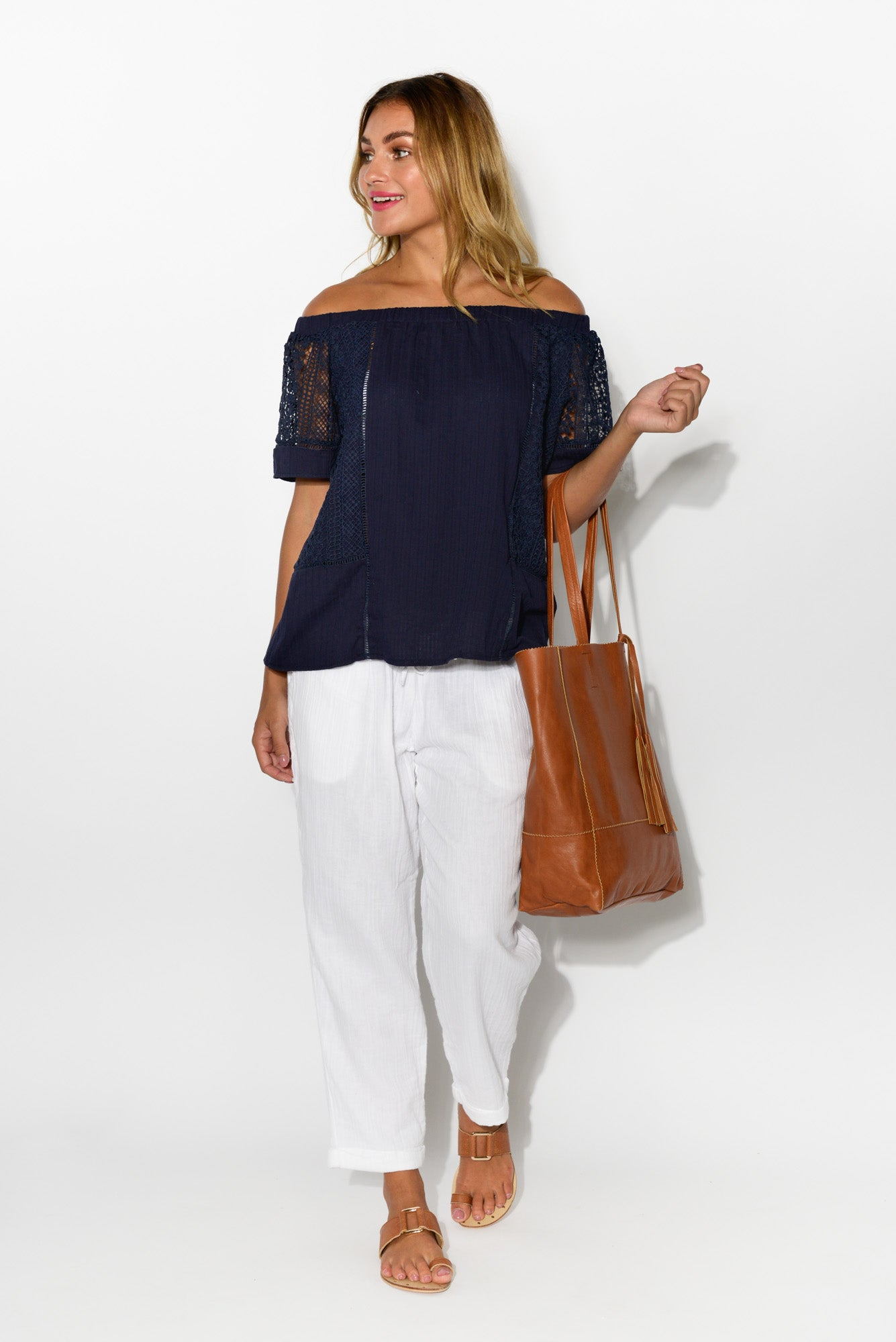 Jessie Navy Off Shoulder Top - Blue Bungalow