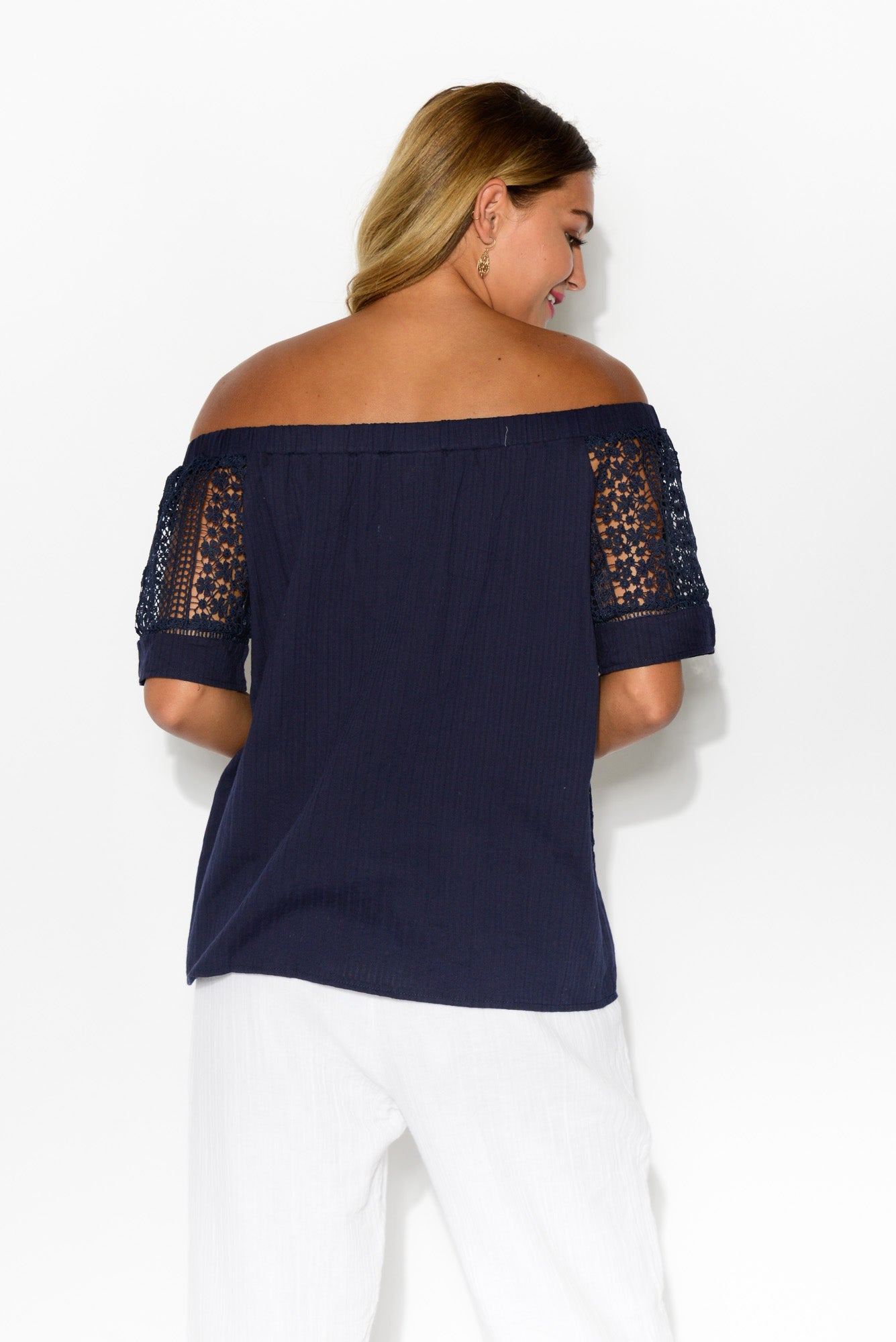 Jessie Navy Off Shoulder Top