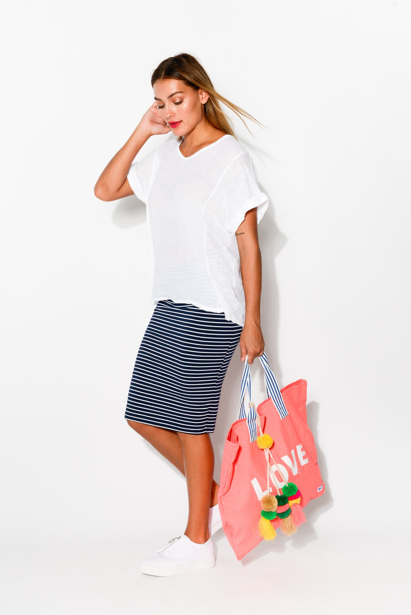 Navy Stripe Bamboo Tube Skirt - Blue Bungalow