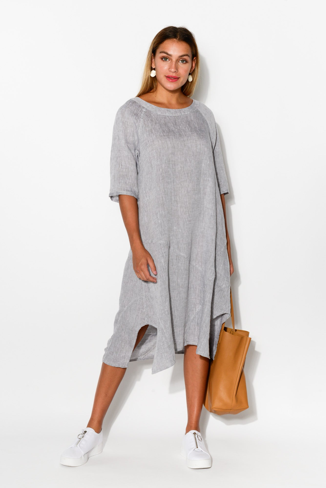 Ash Grey A Line Linen Dress - Blue Bungalow