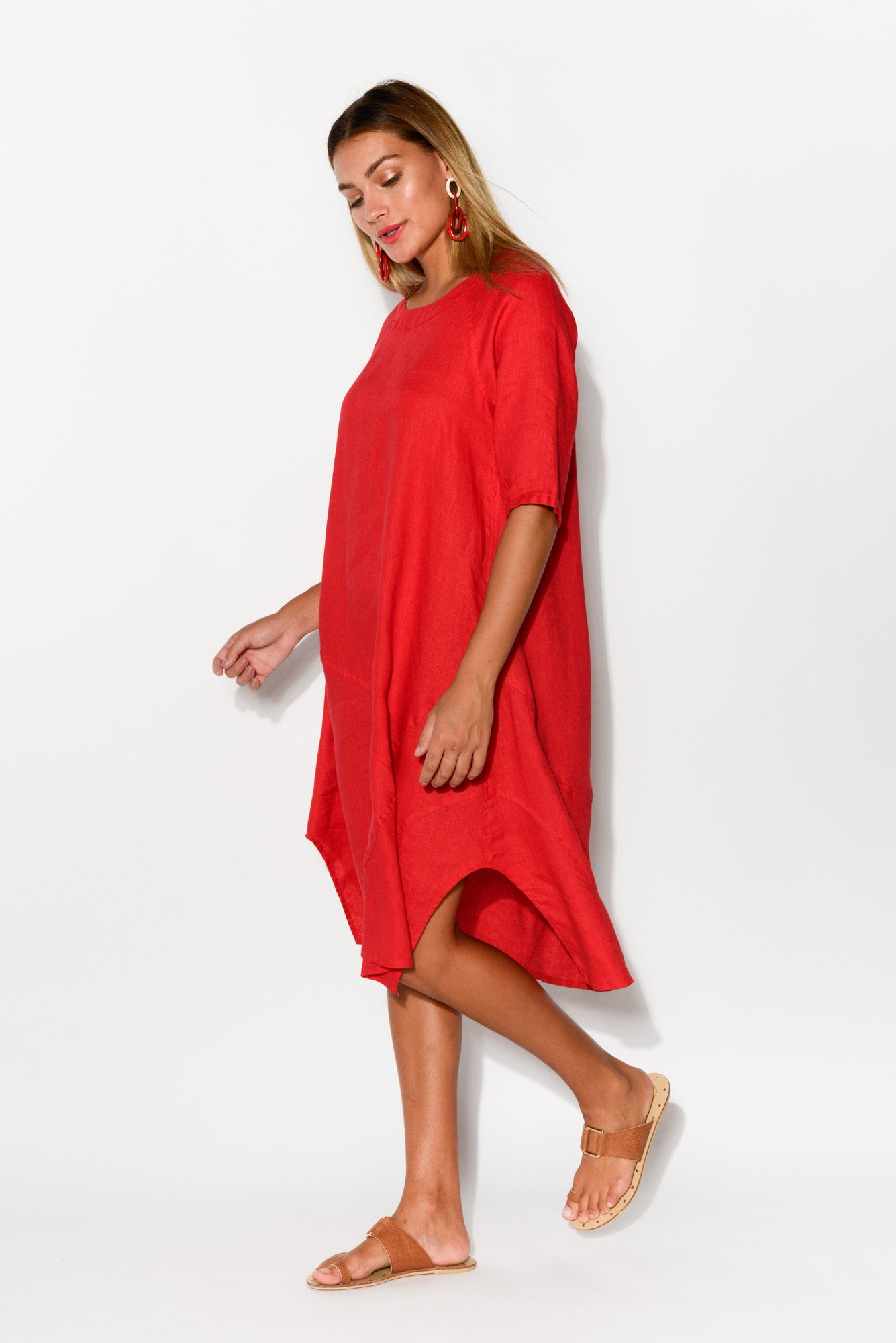 Red A Line Linen Dress - Blue Bungalow