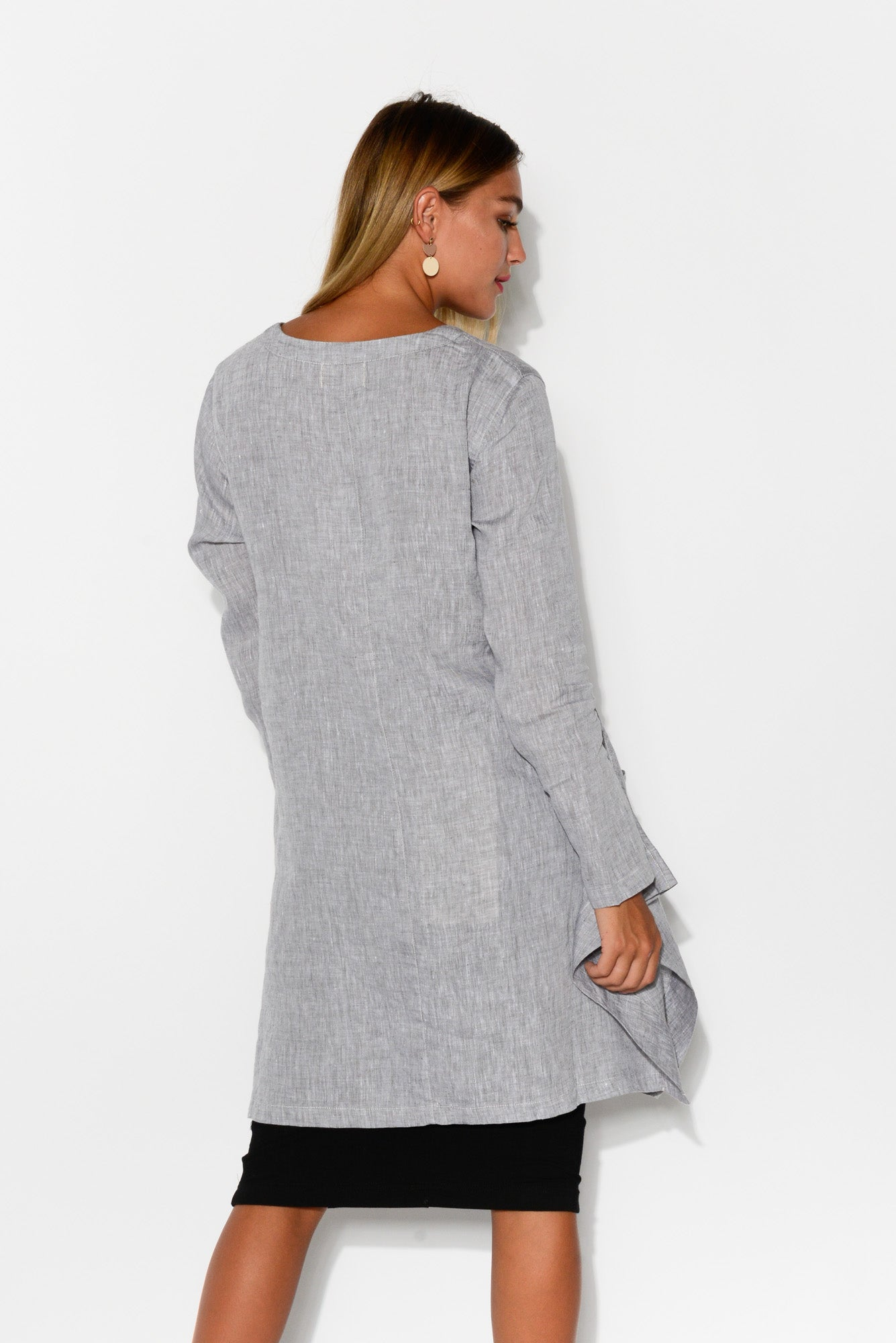 Ash Grey Linen Bell Tunic - Blue Bungalow