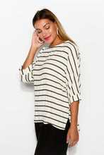 Sansa White Stripe Linen Cotton Top - Blue Bungalow