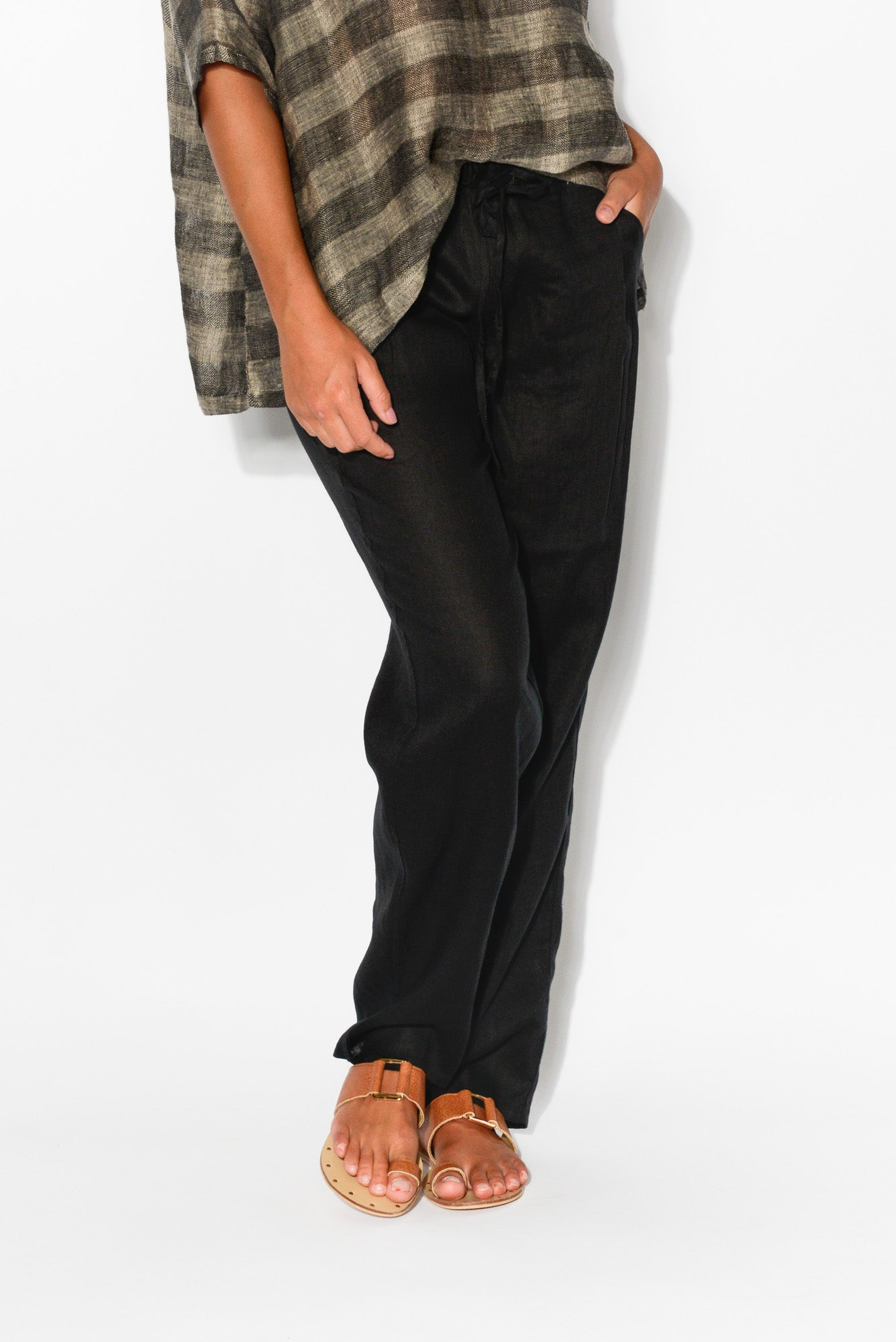 Rue Black Linen Pant - Blue Bungalow