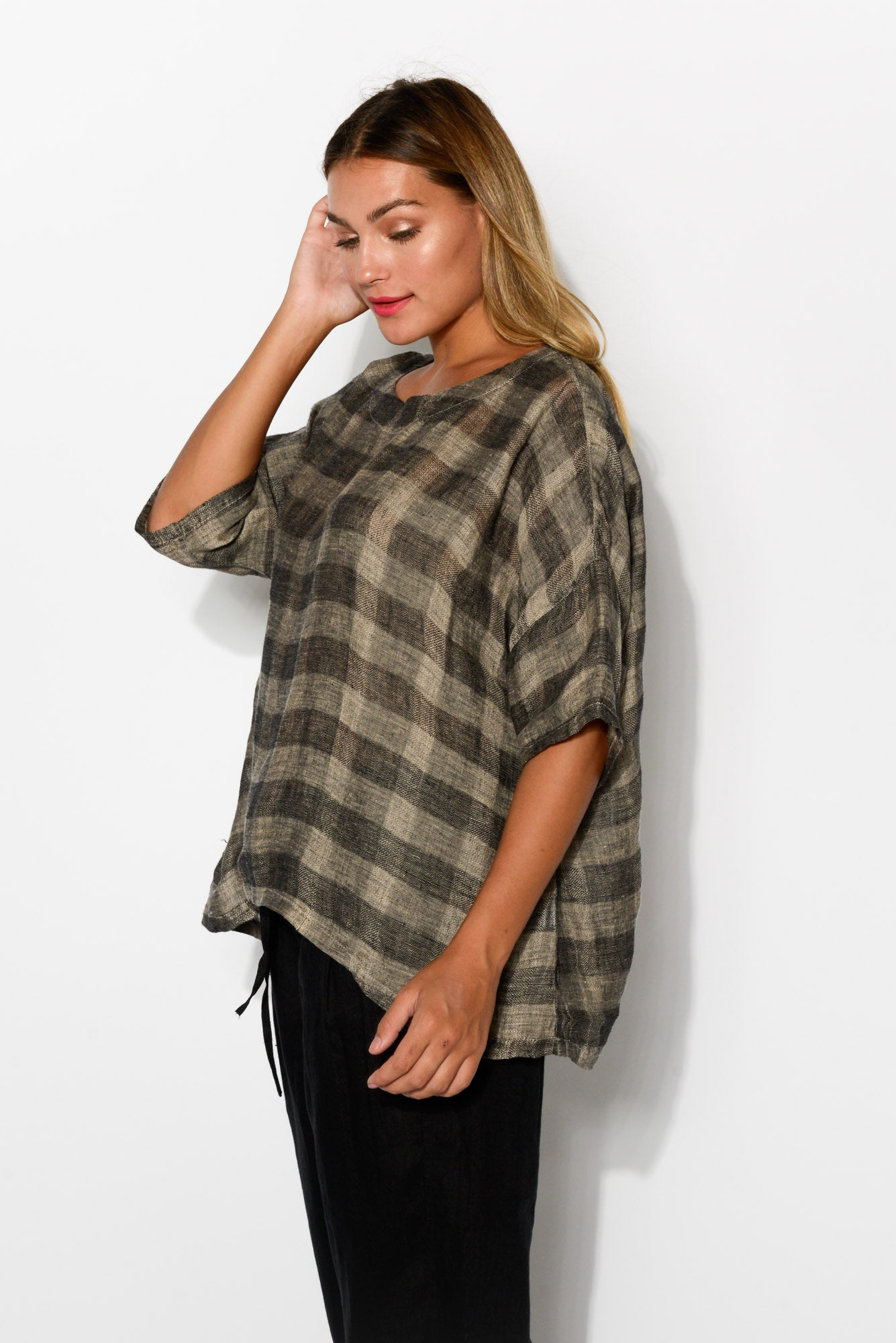 Grey Check Linen Drape Top - Blue Bungalow