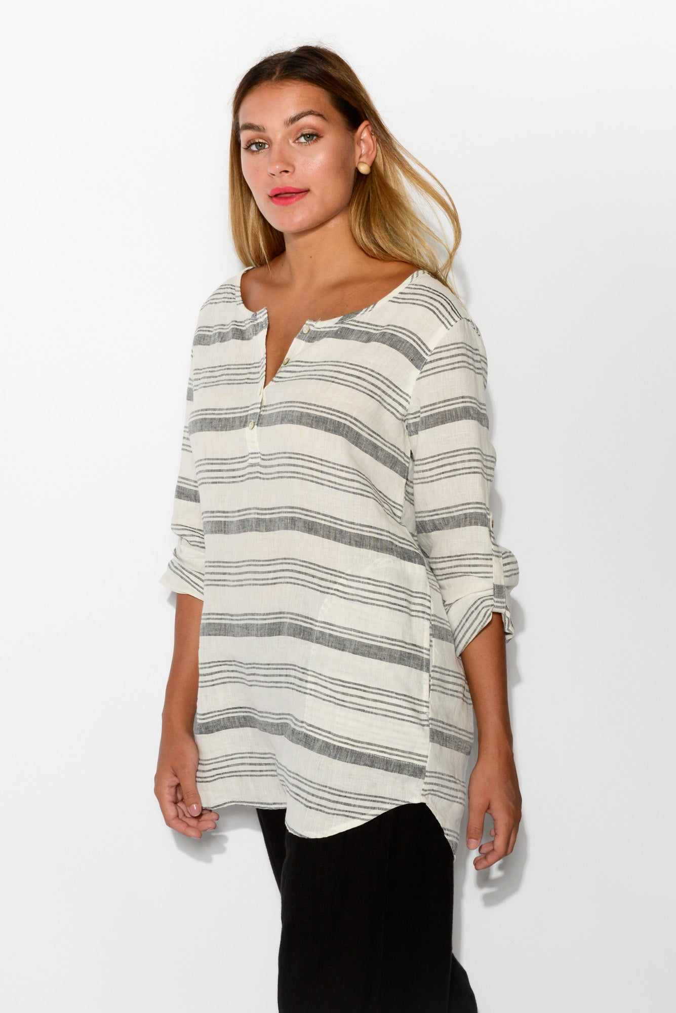 White Stripe Button Linen Tunic - Blue Bungalow