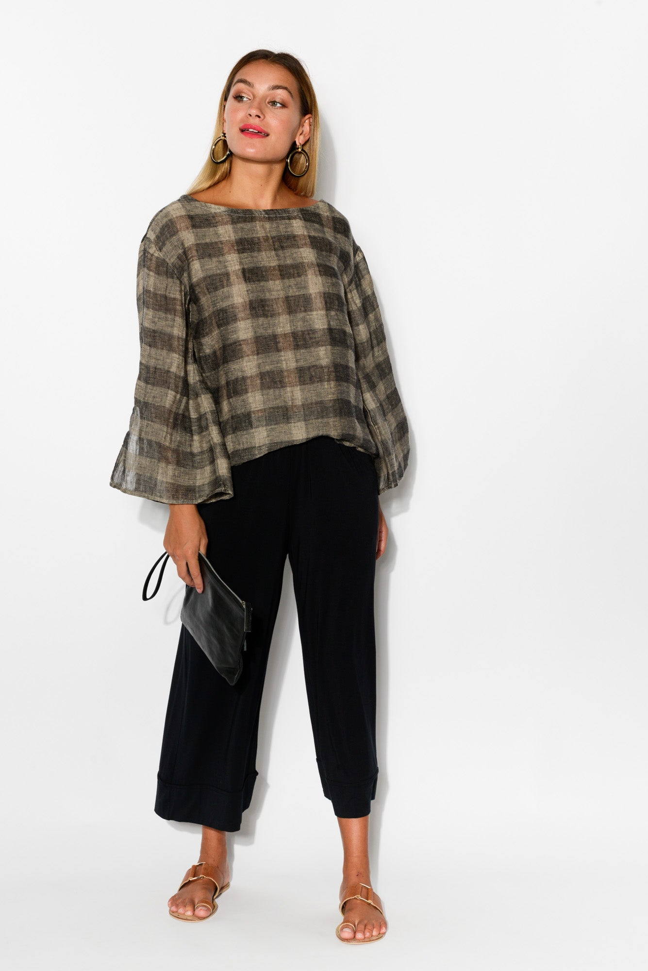 Grey Check Split Sleeve Linen Top - Blue Bungalow