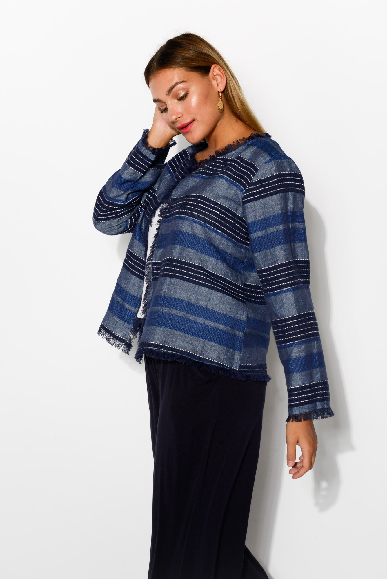 Blue Stripe Linen Cotton Jacket - Blue Bungalow