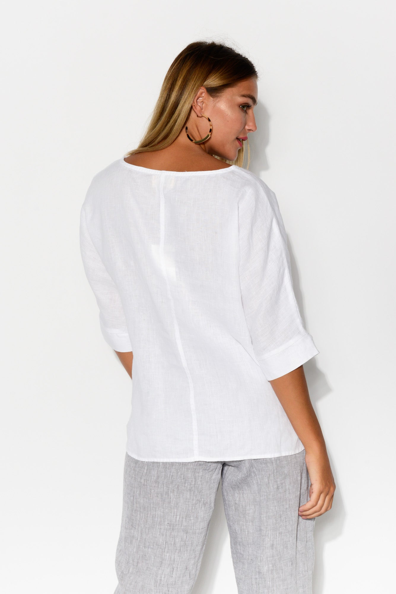 Sansa White Linen Top - Blue Bungalow