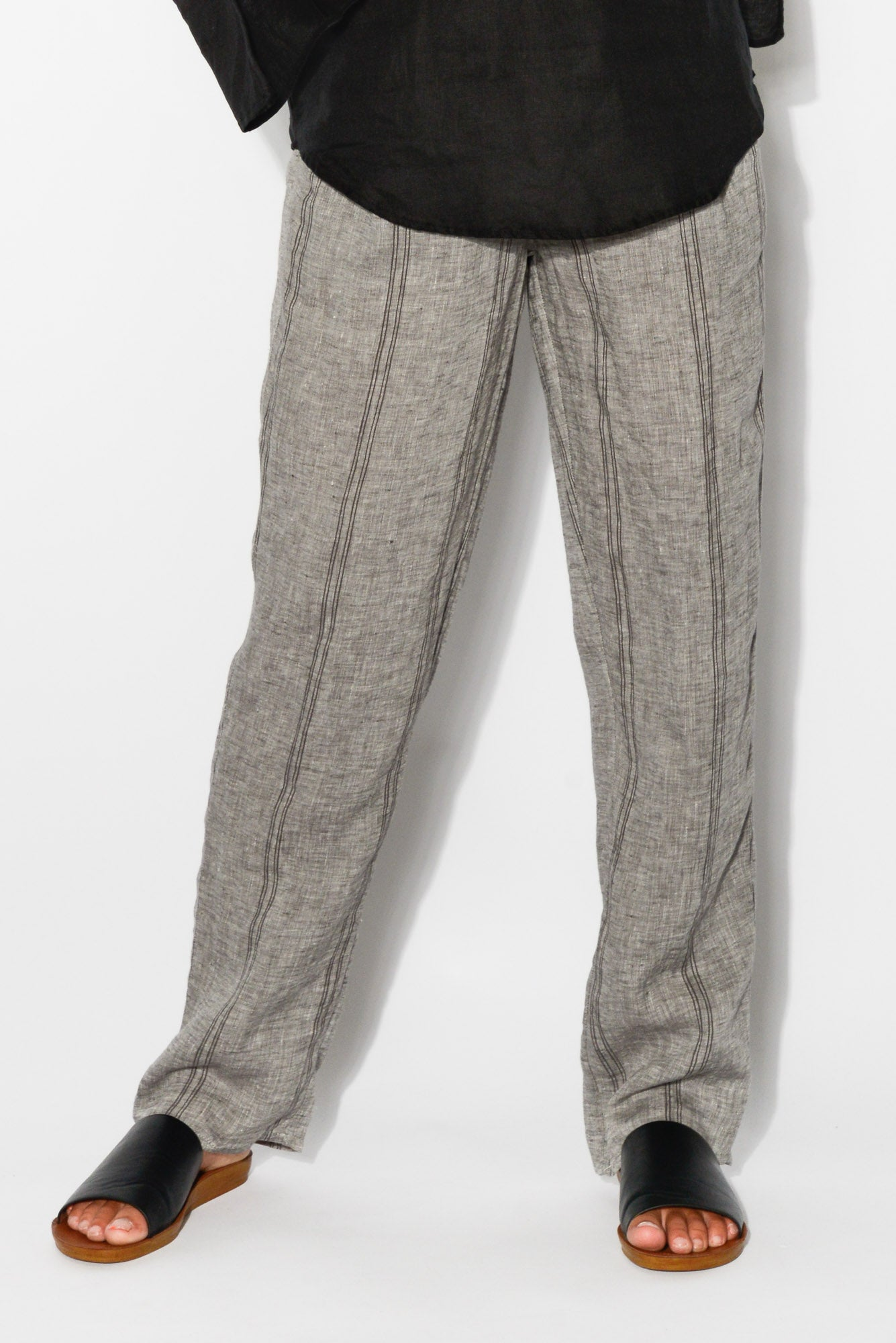 Rue Grey Stripe Linen Pant - Blue Bungalow