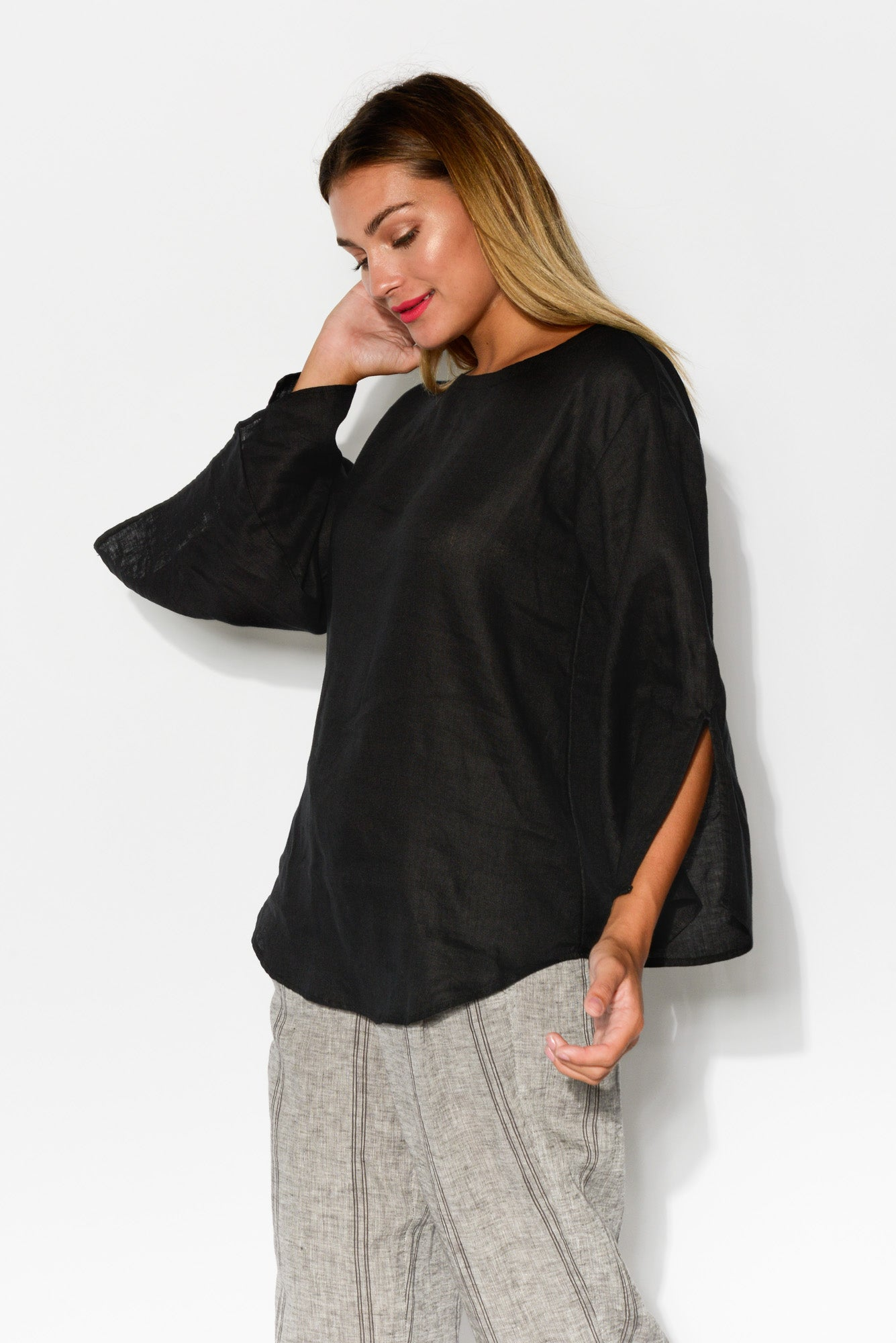 Black Split Sleeve Linen Top - Blue Bungalow
