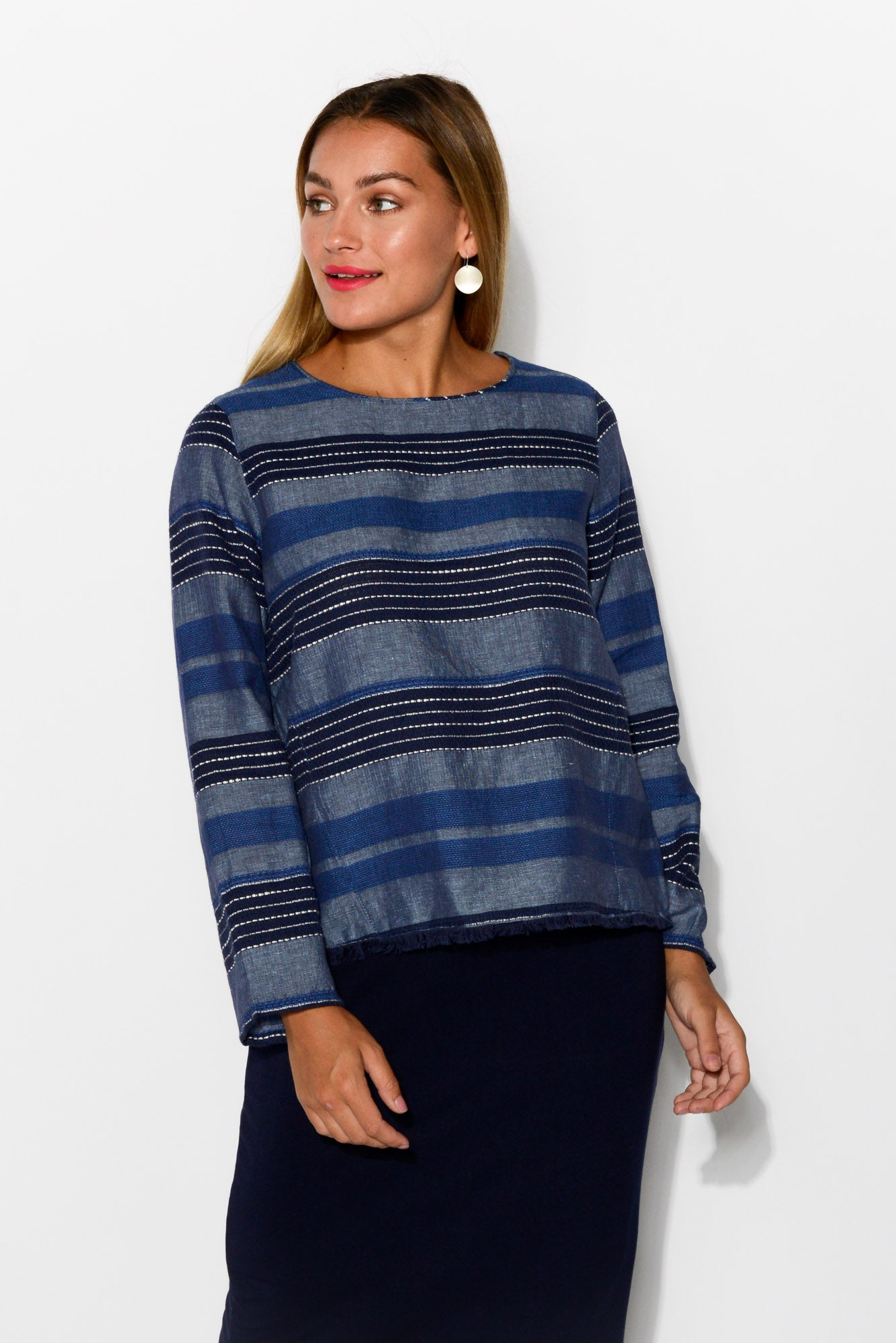 Prue Blue Stripe Linen Cotton Top - Blue Bungalow