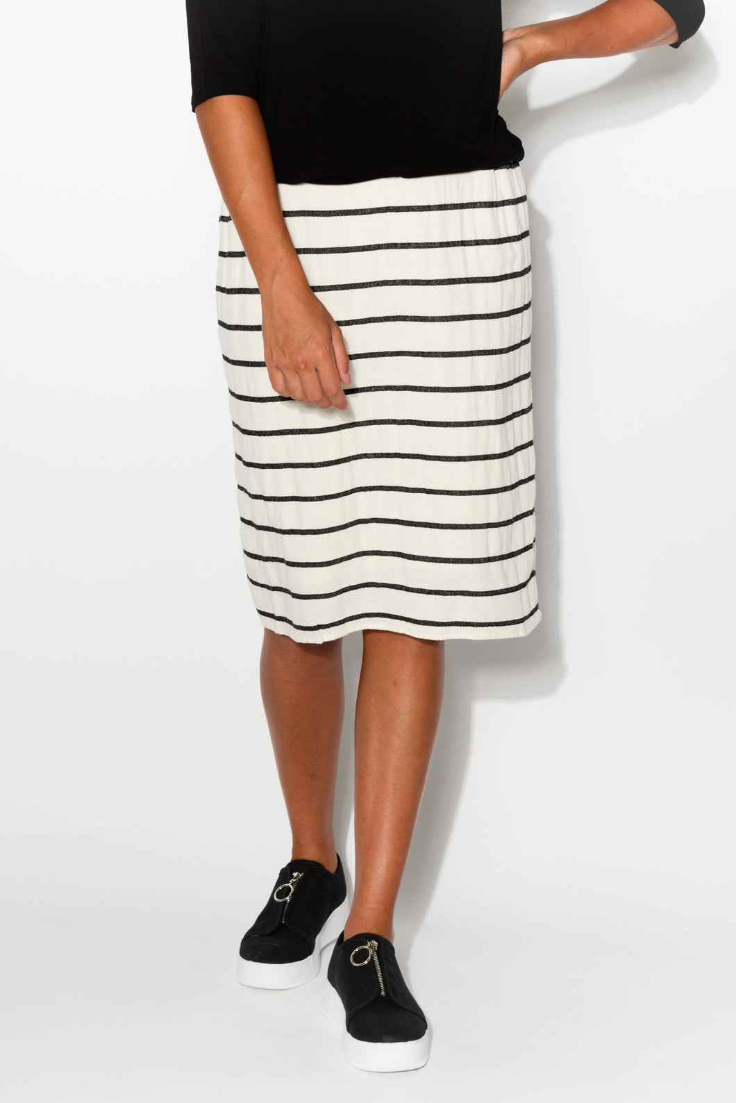 Venice White Stripe Linen Cotton Skirt - Blue Bungalow