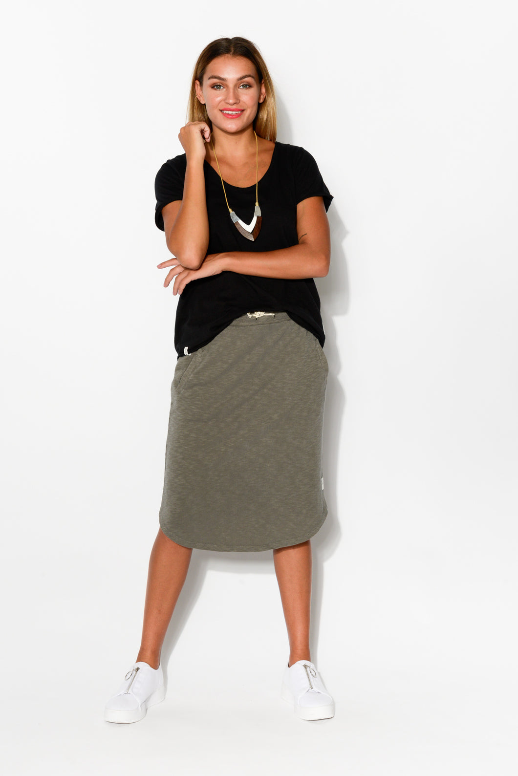 Isla Khaki Cotton Skirt - Blue Bungalow