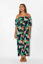 Jaymie Navy Tropical Off Shoulder Maxi Dress