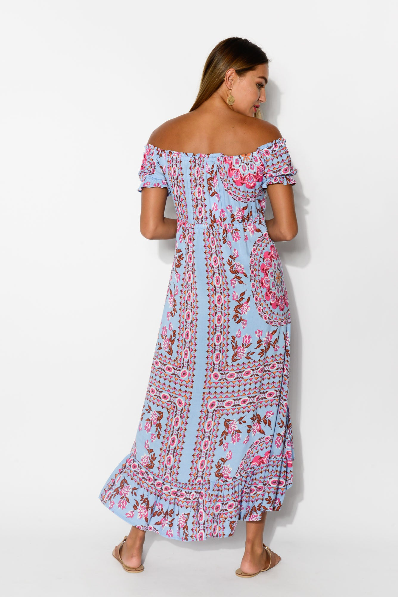 Ellie Blue Floral Off Shoulder Dress - Blue Bungalow