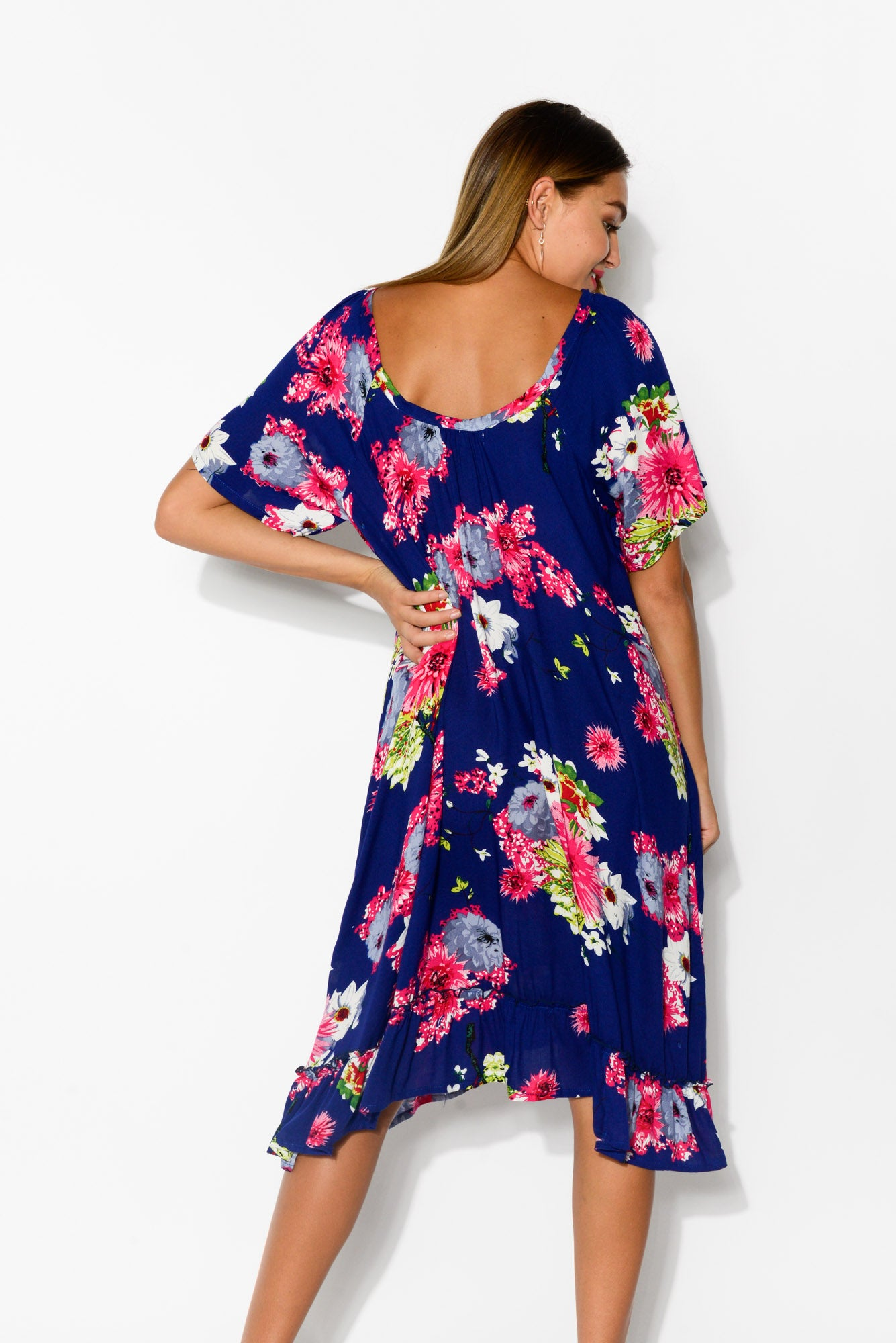 Elka Navy Sakura Swing Dress - Blue Bungalow