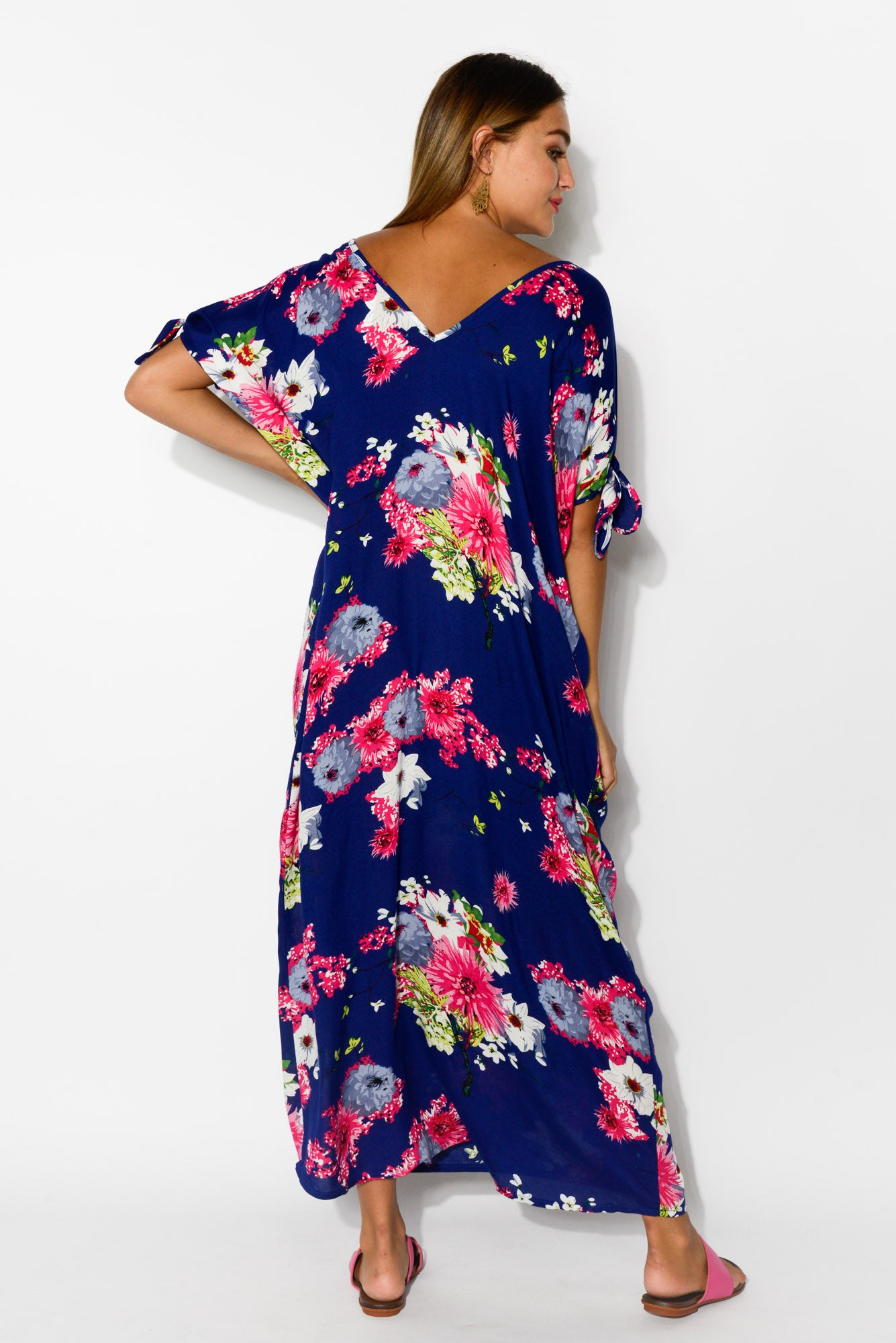 Mykonos Navy Sakura Cold Shoulder Kaftan - Blue Bungalow