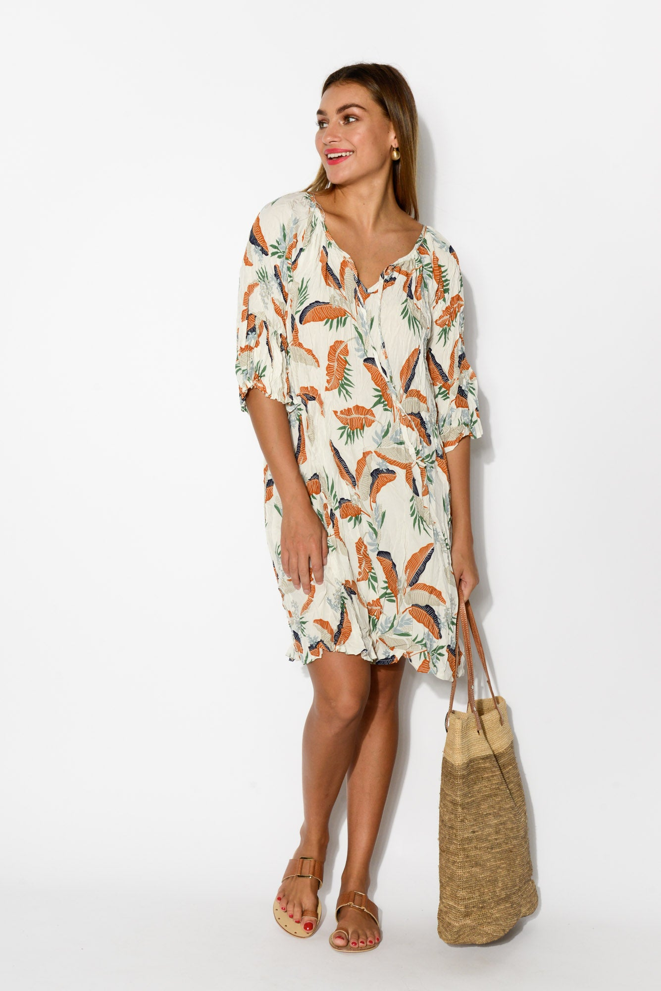 White Garden Bell Sleeve Dress - Blue Bungalow