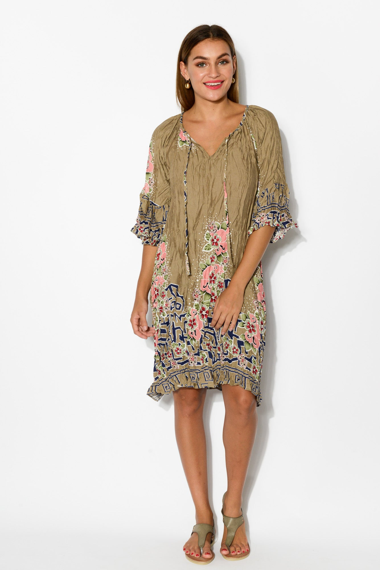 Brown Floral Bell Sleeve Dress