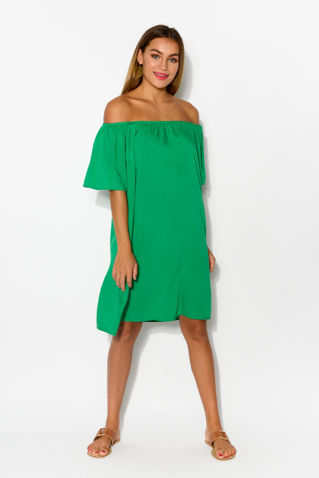 Lauren Emerald Off Shoulder Dress