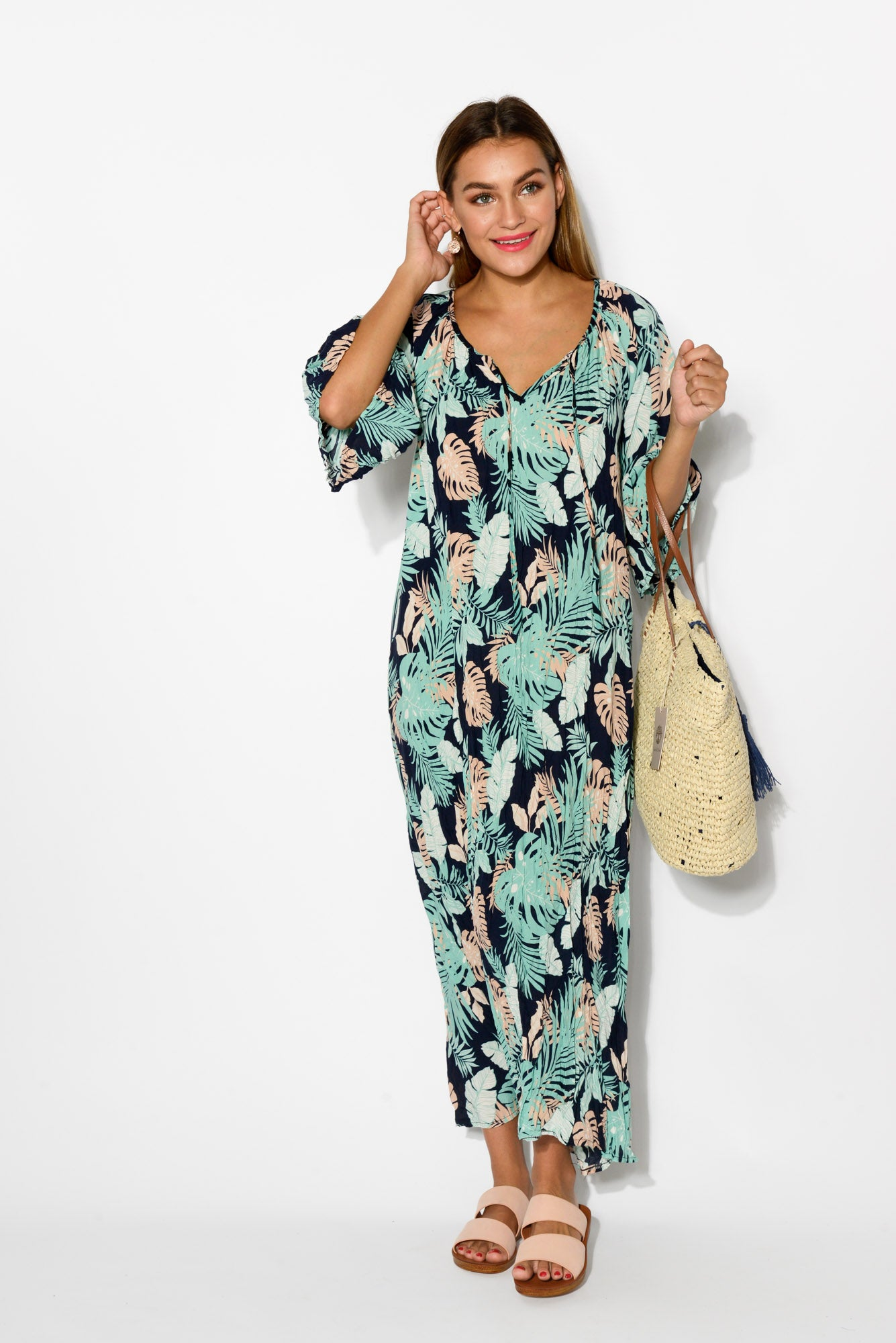 2734b020f8ecd Dominique Mint Crinkle Maxi Dress - Blue Bungalow. Hover to zoom