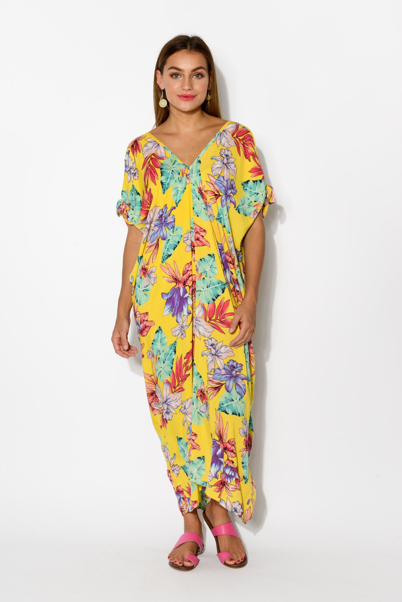 Yellow Venus Cold Shoulder Kaftan - Blue Bungalow