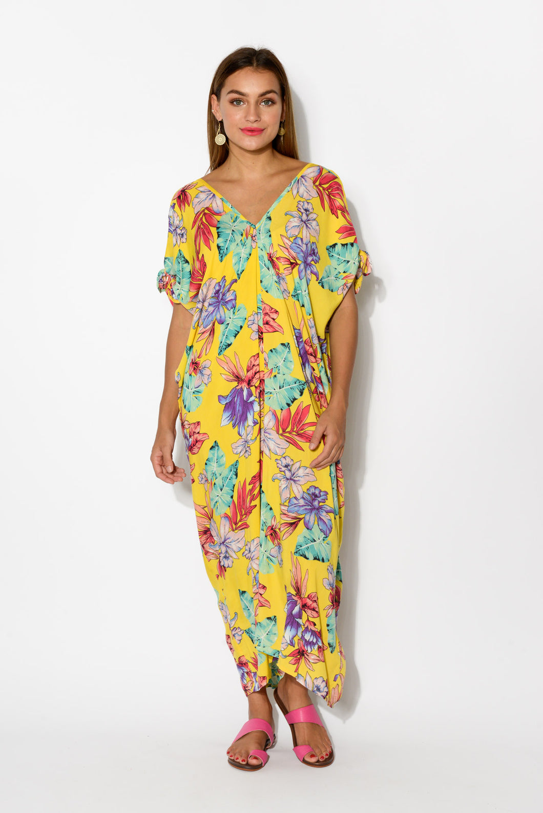 Yellow Venus Cold Shoulder Kaftan