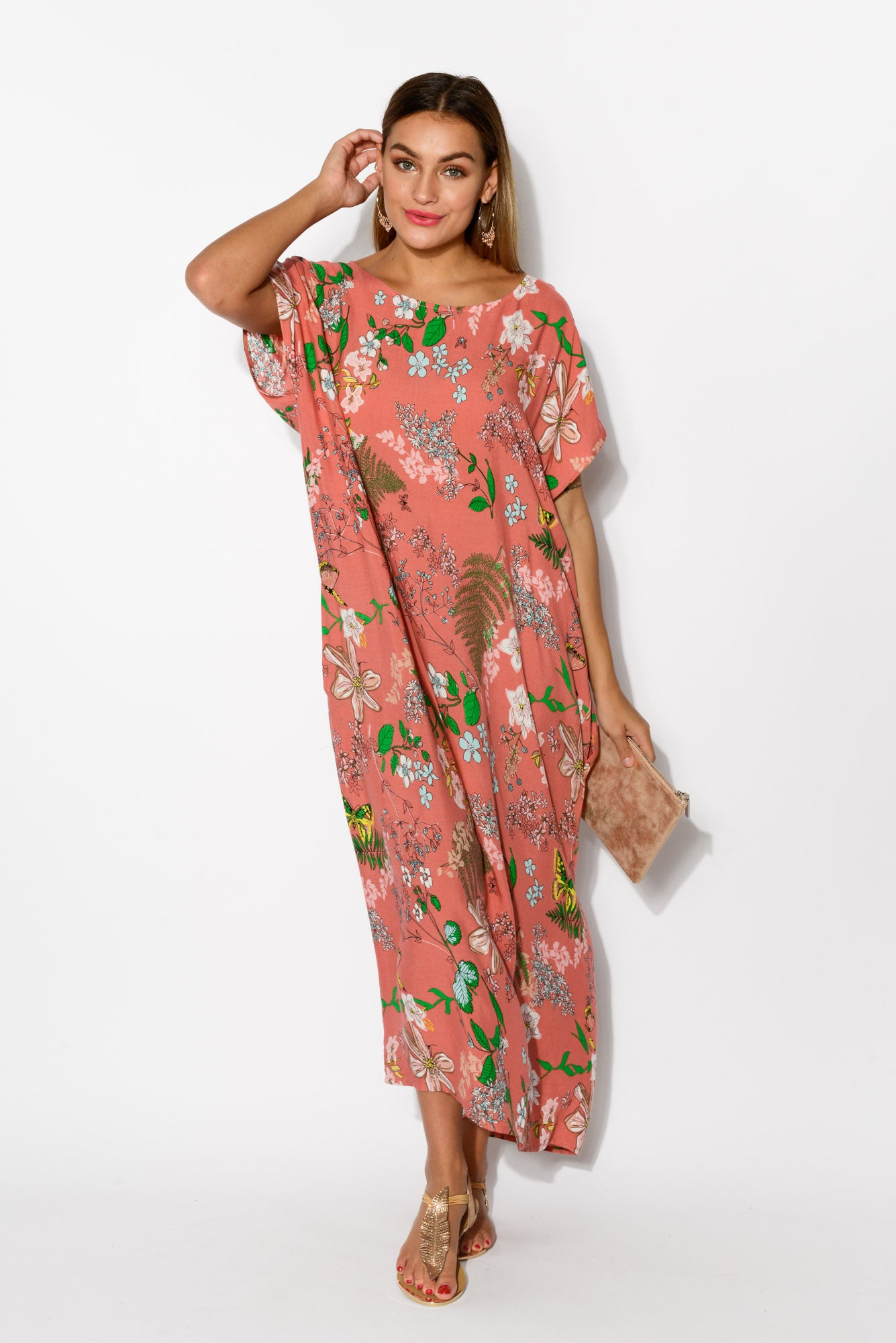 Claudia Pink Floral Maxi Dress - Blue Bungalow