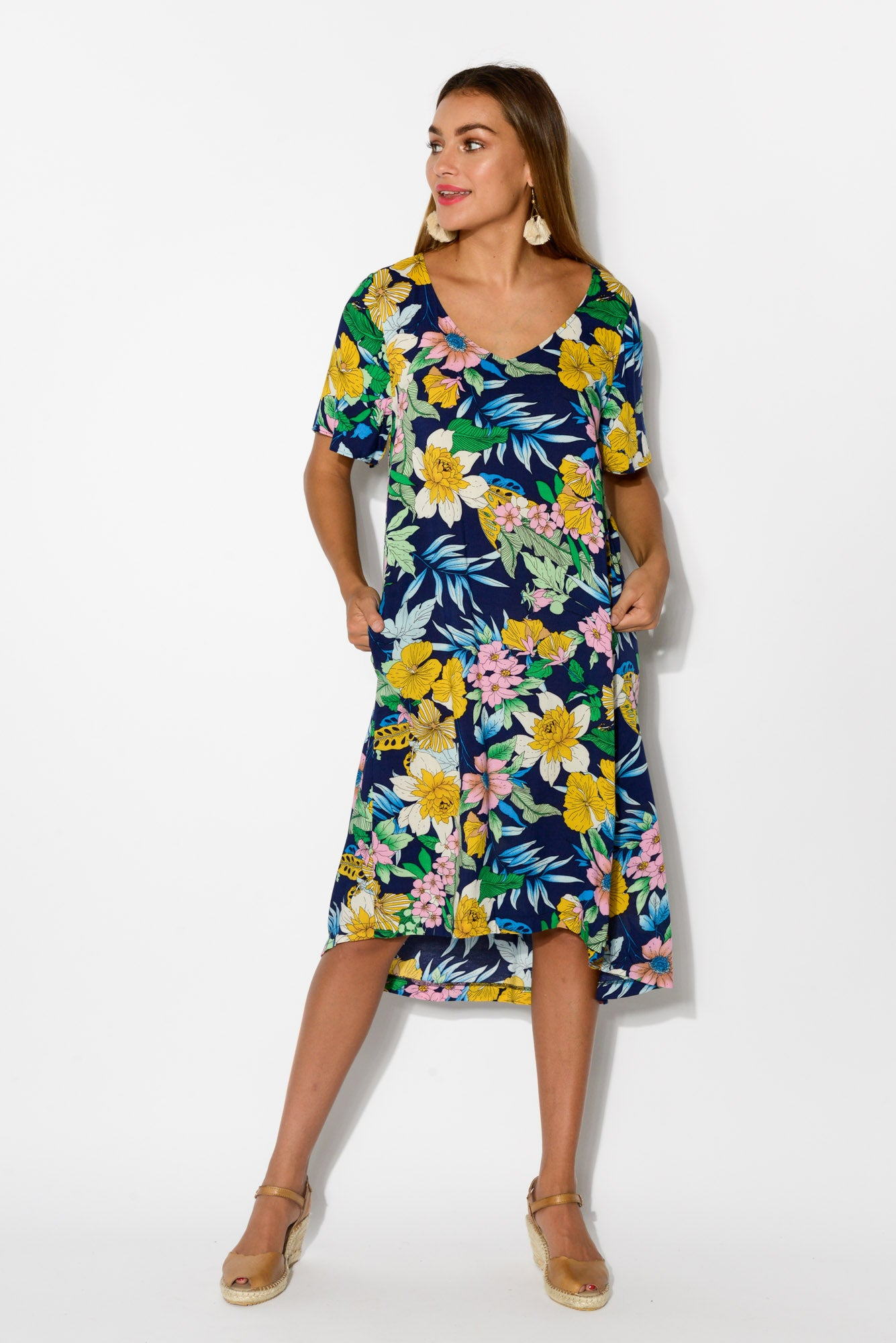 2f10a76033de Leta Navy Floral Swing Dress - Blue Bungalow. Hover to zoom
