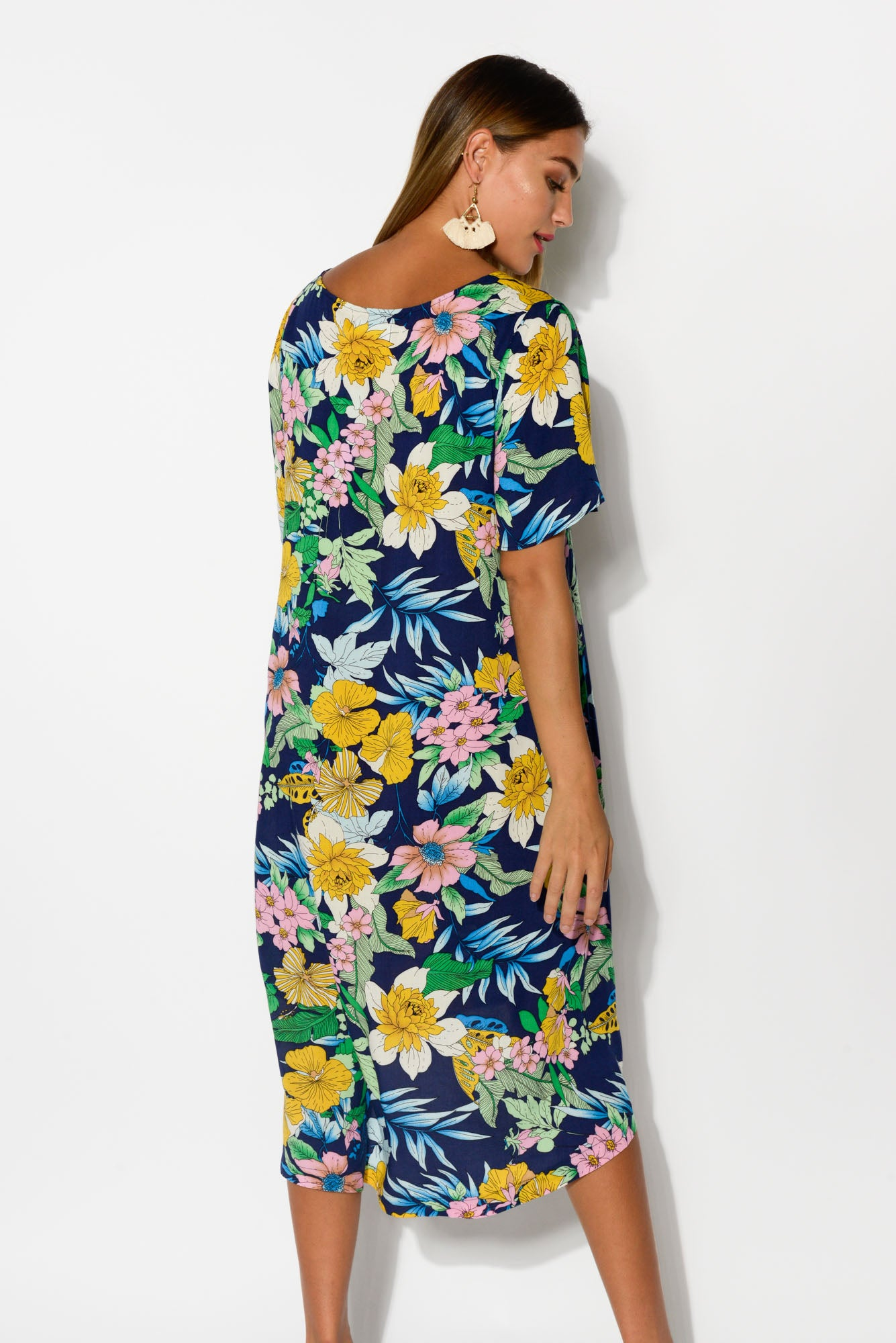 Leta Navy Floral Swing Dress